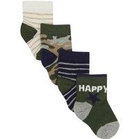 Kids Baby boy striped camouflage socks four pac - Khaki