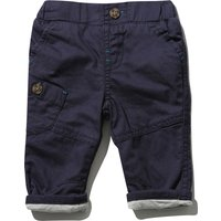 Baby Boy Comfort Jersey Lined Elasticated Waistband Roll Up Smart Chino Trousers - Navy