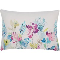 Home rectangular watercolour floral print cushion  - Teal