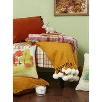 Home Soft Brushed Knit Warm Cosy Tassel Edge with cream pom pom plush throw blanket  - Gold
