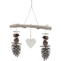 Home pinecone heart hanging branch decoration  - Natural