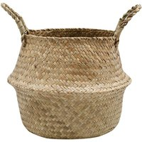 Home Large Natural Seagrass Woven Basket With Handles W28cm x H23cm  - Natural