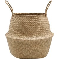 Home Medium Natural Seagrass Woven Basket With Handles W36cm x H31cm  - Natural