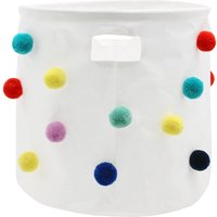 Home Pom pom canvas storage basket Fun bright basket perfect for kids rooms  - White