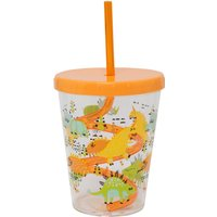 Home Plastic Childrens Cup with Lid and Straw  - Multicolour