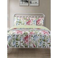 Home floral blossom print duvet set single double king super  - White