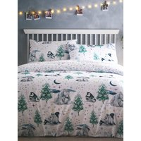 Home brushed cotton duvet set with winter animal print  - White