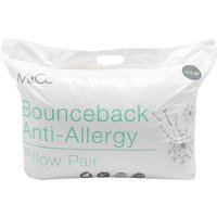 Non allergenic bounce back spiral bound fibre pillows - 2 pack  - White