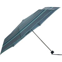 Blue Coloured Tile Print Steel Framed Compact Folding Umbrella With Matching Cover - Mid Blue