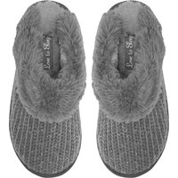 Ladies Grey Cosy Metallic Knitted Slip On Mule Style Fluffy Faux Fur Lined Winter slippers  - Grey