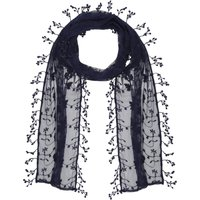 Ladies lightweight floral leaf lace fringe tassel trim coloured wrap scarf  - Navy