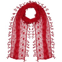 Ladies lightweight floral leaf lace fringe tassel trim coloured wrap scarf  - Red
