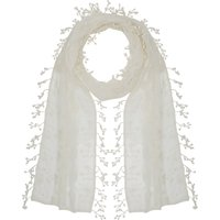 Ladies lightweight floral leaf lace fringe tassel trim coloured wrap scarf  - Ivory