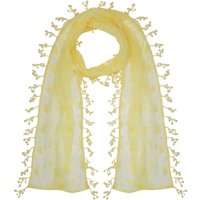Ladies lightweight floral leaf lace fringe tassel trim coloured wrap scarf  - Yellow