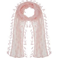 Ladies lightweight floral leaf lace fringe tassel trim coloured wrap scarf  - Blush