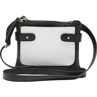 Ladies Classic Black And White Two Compartment Zip Fastening Casual Cross Body Bag - Black