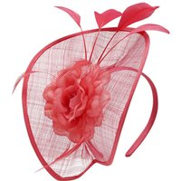 Ladies large sculpted flower and feather embellished hair band disc fascinator  - Pink