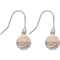 Ladies silver diamante embellished drop earrings  - Silver