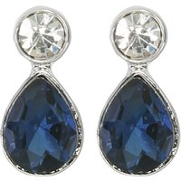 Ladies Navy Blue Diamante Stone Drop Silver Tone Evening Earrings  - Navy