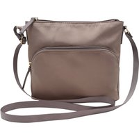 Ladies Cross Body Nylon Bag With Zipped Pockets - Taupe
