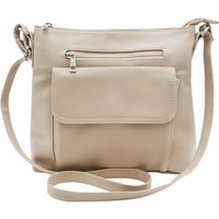 Ladies Front Pocket Faux Leather Cross Body Bag - Taupe