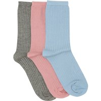 Ladies Plain Ribbed Ankle Socks Three Pair Pack  - Multicolour
