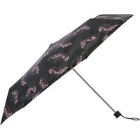 Ladies Leaves Print Black Umbrella Compact Folding Handbag Size  - Black