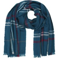 Ladies Teal Checked Blanket Scarf Soft Touch Woven Fabric 186x70cm  - Teal