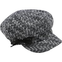 Ladies Tweed Baker Boy Hat With Shimmer Thread Fabric And Black Bow - Charcoal