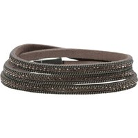 Ladies diamante multi strand layered wrap bracelet  - Silver
