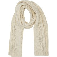 Ladies chunky cable knit shimmer scarf  - Ivory