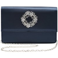 Embellished Diamante Brooch Sparkly Satin Evening Clutch Bag With Chain Strap - Navy