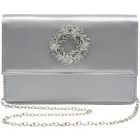 Embellished Diamante Brooch Sparkly Satin Evening Clutch Bag With Chain Strap - Silver
