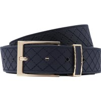 Diamond Stitch Navy Belt With Gold Tone Buckle - Navy