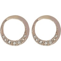 Jewellery Rose Gold Diamante Stud Circle Design Simple Fashion Earrings - Rose