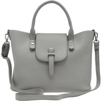 Grey Fold Over Tote Top Handle Bag - Grey