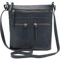 Ladies Triple Zip Cross Body Bag Zip Detail Handbag  - Navy