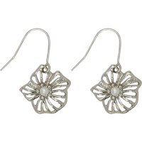 Jewellery Silver Tone Flower Design Cut Out Detail Small Pearl Centre Drop Earrings - Silver