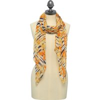 Floral Stripe Lightweight Scarf 180cm X 72cm - Yellow