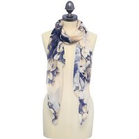 Blue Floral Scarf With Sequin Detailing 184cm X 70cm - Blush