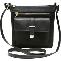 Cross Body Bag With Front Pocket And Zip Design - Black
