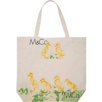 Duckling And Logo Print Canvas Shopper Eco-friendly Cotton Bag For Life - Natural