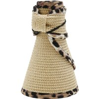 Ladies straw visor hat packable  - Natural