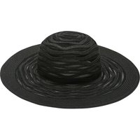 Ladies wide brim sunhat ribbon style design straw hat  - Black
