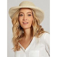 Ladies straw wide brim beach hat  - Natural