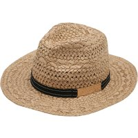 Ladies Straw fedora sun hat with black ribbon band and metal trim detail  - Natural