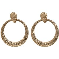 Ladies Muse Hammered Circle Earring Gold Tone Hoop Earrings  - Gold