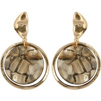 Gold Tone Resin Drop Earrings - Gold