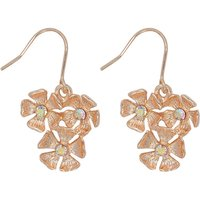 Enamel Flower Drop Earrings - Gold