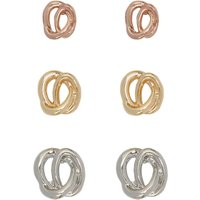 Knot Earrings Three Pair Pack Gold Rose Gold And Silver Tones - Multicolour